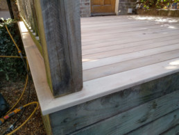 Yellow Balau timber used on an exterior decking project done by Cook Joinery, London.