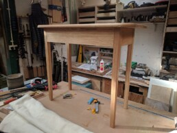 A small Oak desk made by Cook Joinery. London.